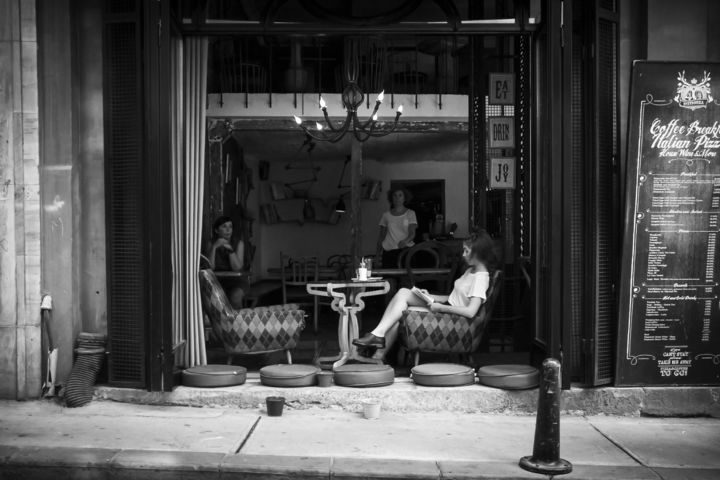 """Photography titled """"Coffee girl in a st…"""" by Farzad Frames, Original Art, Digital Photography"""