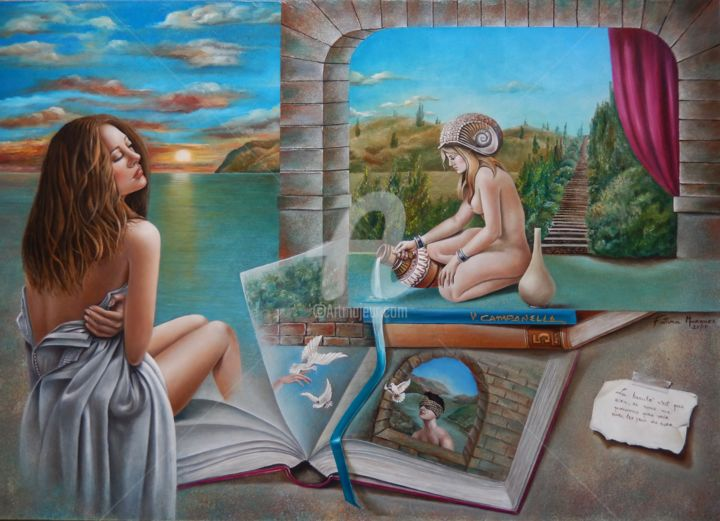 Beleza Interior - Pintura,  31,5x39,4x2 in, ©2017 por Fatima Marques -                                                                                                                                                                                                                                                                                                                                                                                                                                                                                                                                                                                                                                                                                                                                                                                                                                                                                                                                                          Figurative, figurative-594, artwork_cat.Love/Romance, artwork_cat.Fairytales, Corpo, Heroic-Fantasy, Lugares, Vito Campanella, mitologia, mulher, caramujo, agua, livro, estória, imaginação, beleza, interior, Figurative arte, oil paintiing, realistic art
