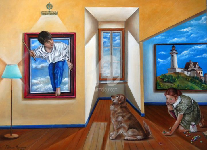 Inocência - Pintura,  23,6x31,5x2 in, ©2018 por Fatima Marques -                                                                                                                                                                                                                                                                                                                                                                                                                                                                                                                                                                                                                                                                                                                                                                                                                                                                                                                                                          Figurative, figurative-594, Animais, Arquitetura, Casa, Crianças, artwork_cat.Dogs, painting art, oil painting, @famarques_art, contemporary art, fantasy art, figurative art, visual art, fatima marques, surrealismo, realismo fantástico, cão, crianças, brincadeiras