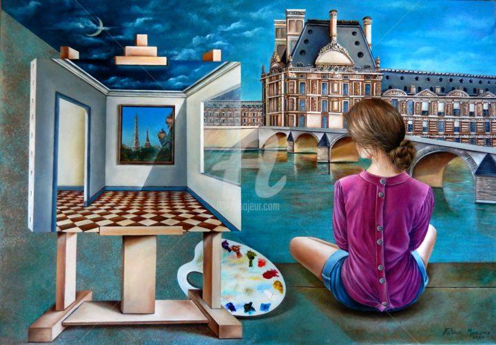 Reflexões - Painting,  70x100x5 cm ©2018 by Fatima Marques -                                                                                                                                                                                    Figurative Art, Contemporary painting, Realism, Surrealism, Canvas, Architecture, Celebrity, World Culture, Heroic-Fantasy, Places, Women, Landscape, Fantasy, Museu du Louvre, Rio Senna, Pintura, Mulher, Reflexão, oil painting, figurative art, Paris, contemporary art, realism art, art galley