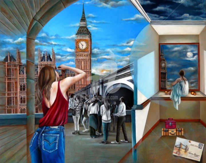 Dreams - Painting,  80x100x10 cm ©2018 by Fatima Marques -                                                                                                                                                                                    Figurative Art, Contemporary painting, Realism, Surrealism, Canvas, Architecture, World Culture, Interiors, Places, Cityscape, People, Travel, Fantasy, London, Big Bang, mulher, fantasy, viagem, realismo fantastico, oil painting, contemporary art