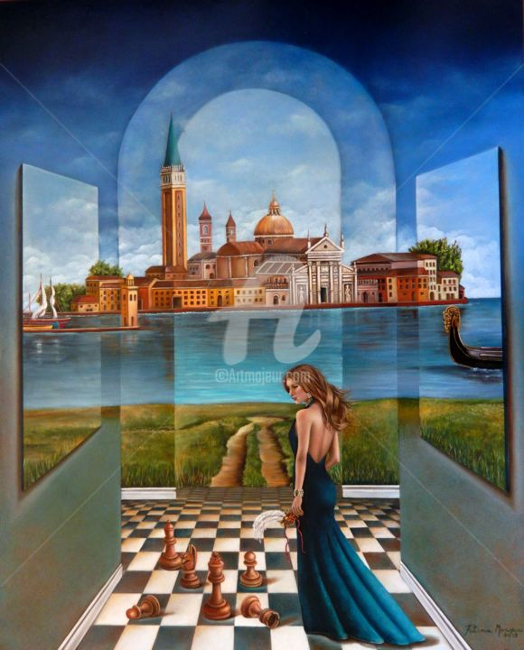 Jogos Secretos - Painting,  100x80x5 cm ©2018 by Fatima Marques -                                                                                                                                                                        Figurative Art, Contemporary painting, Realism, Surrealism, Canvas, Love / Romance, Architecture, Cities, World Culture, Places, Landscape, Fantasy, Veneza, Jogos, Segredo, linda mulher, Itália, Interior exterior, contemporary art, modern art, fantasy art, reaçismo fantástico, oil painting