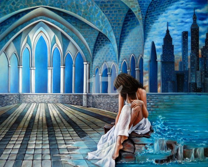 Infinito Ser - Painting,  80x100x5 cm ©2018 by Fatima Marques -                                                                                                                                                                                    Figurative Art, Contemporary painting, Realism, Surrealism, Canvas, Architecture, Cities, Interiors, Places, Women, Seascape, Travel, Fantasy, mulher, Infinito, Ser, colunas, edifícios, New York, modern art, contemporary art, realismo fantástico, oil painting