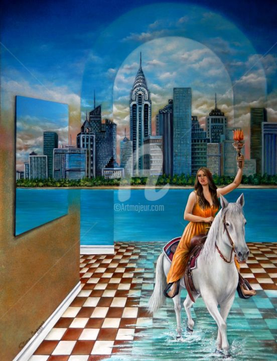 Liberdade - Painting,  80x60x5 cm ©2018 by Fatima Marques -                                                                                                                                                                                                Figurative Art, Contemporary painting, Realism, Surrealism, Canvas, Animals, Architecture, Horses, Cities, Places, Women, Cityscape, Wall, Fantasy, oil painting; realistic art