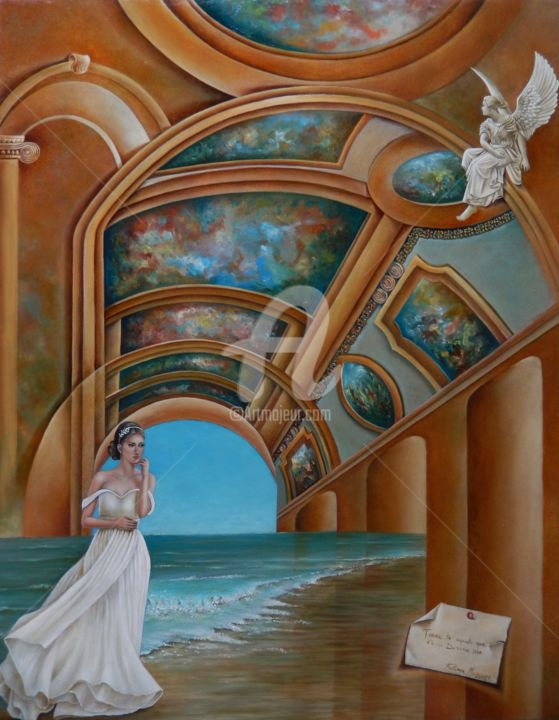 Divino Ser - Painting,  100x80x5 cm ©2018 by Fatima Marques -                                                                                                                                                                                    Figurative Art, Contemporary painting, Realism, Surrealism, Canvas, Angels, Architecture, World Culture, Spirituality, Classical mythology, Women, Time, Fantasy, Divino, Ser, Místico, Fantasy, Surrealism, oil painting, contemporary art, fine art