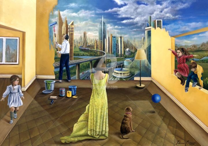 Encontro com o futuro - Painting,  80x100x5 cm ©2019 by Fatima Marques -                                                                                                                                                                                                                                    Figurative Art, Contemporary painting, Realism, Surrealism, Canvas, Architecture, Home, Cities, Children, Family, Interiors, Places, Cityscape, Wall, People, Time, Fantasy, Encontro, Visão, Futuro, Imaginário, Fantasia, Realismo fantástico, surreal, oil painting, pintura contemporanea