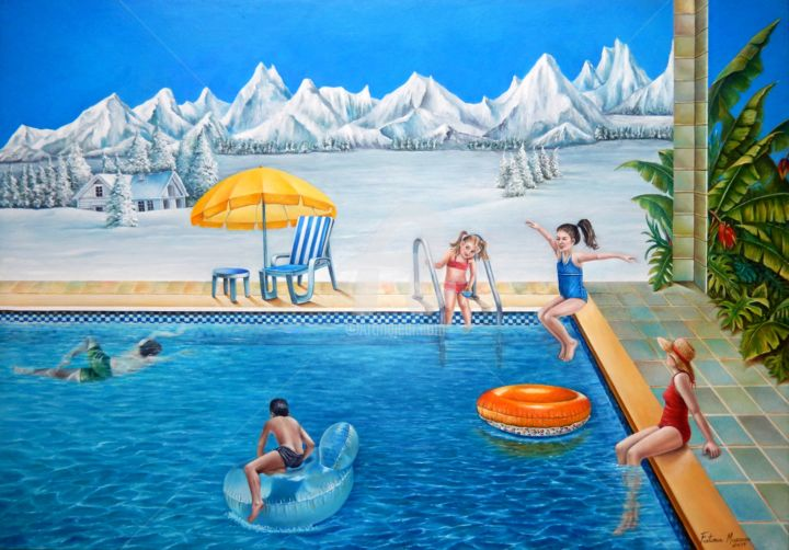 Contrastes - Painting,  70x100x5 cm ©2019 by Fatima Marques -                                                                                                                                                                        Figurative Art, Contemporary painting, Realism, Surrealism, Canvas, Children, Seasons, Family, Places, People, Time, Water, piscina;sol.montanha;gelo