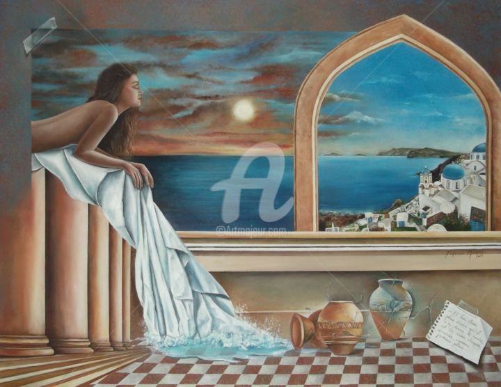 santorini-2014.jpg - Painting,  70x5x70 cm ©2014 by Fatima Marques -                                                            Surrealism, Canvas, World Culture, Mulher; Ilha; Santorini; mar; xadrez, agua