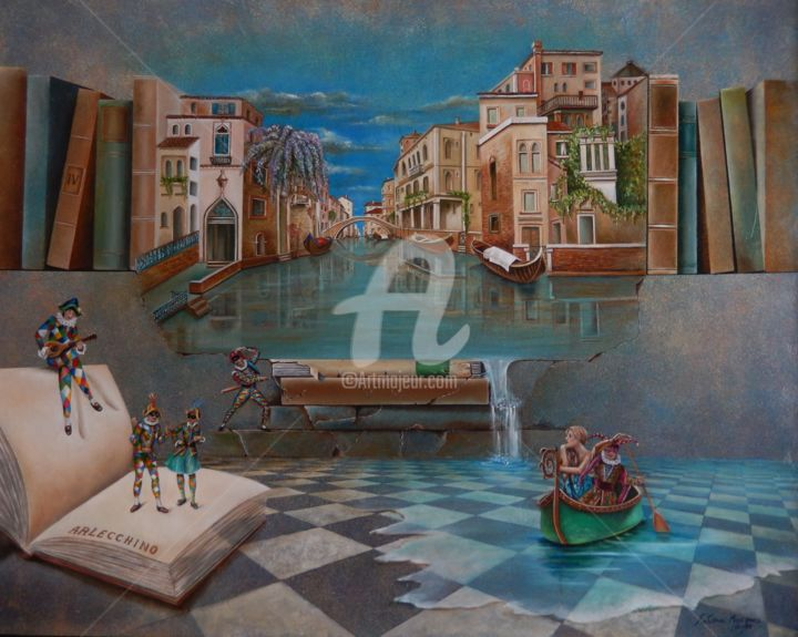 venice-dans-les-reves-jun-2016-80-x-100-cm.jpg - Painting,  80x100x10 cm ©2016 by Fatima Marques -                                                                                                            Figurative Art, Surrealism, Canvas, Cities, World Culture, Fantasy, Places, Veneza, Venice, Venezia, Arlequins, Arlecchinos, livros, sonhos, rêves