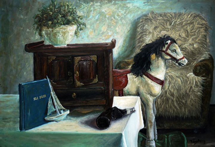 """Painting titled """"Still life with toy…"""" by Fatmir Brezanin, Original Art, Oil"""
