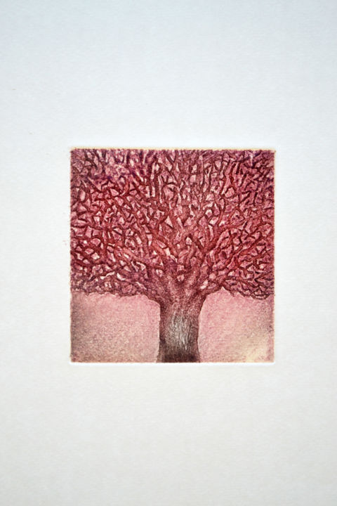 carré rouge - Printmaking,  5.9x4.3x0.4 in, ©2017 by François Crinel -