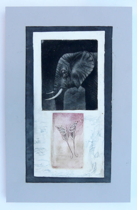 Loxodonta - Printmaking,  9.8x0.8x15.8 in, ©2014 by François Crinel -                                                                                                                                                                                                      Black and White, Gravure, gypsogravure, eau-forte.