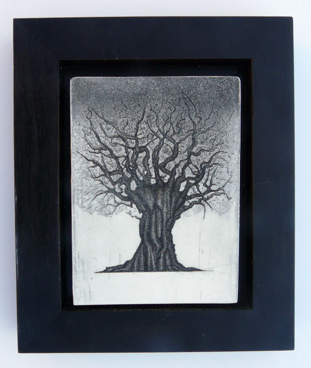arbre 1 plâtre - Printmaking,  9.8x7.9x0.4 in, ©2014 by François Crinel -                                                                                                              Other, Tree