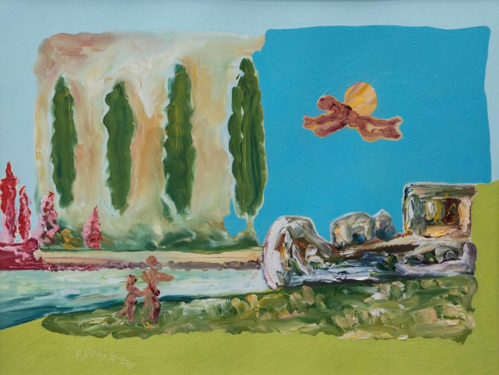 La péniche - Painting,  14.2x18.9 in, ©2018 by Francis Denis -