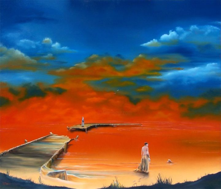 """Painting titled """"Lake of Fire"""" by Dj Fedeli, Original Art, Oil"""