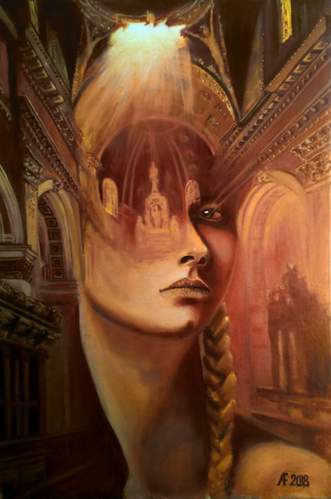 Enigma - Painting,  23.6x15.8x0.2 in, ©2018 by Anatoly Fedorov -                                                                                                                                                                                                                                                                                                              Surrealism, surrealism-627, Architecture, Portraits, Religion, Women