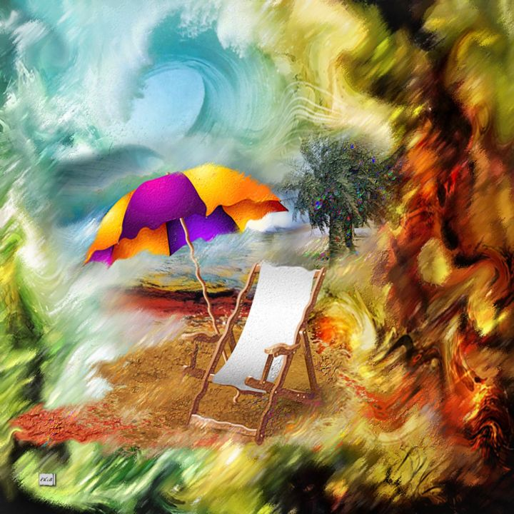 N106. Les vacances - Digital Arts,  31.5x31.5 in ©2019 by Christine -