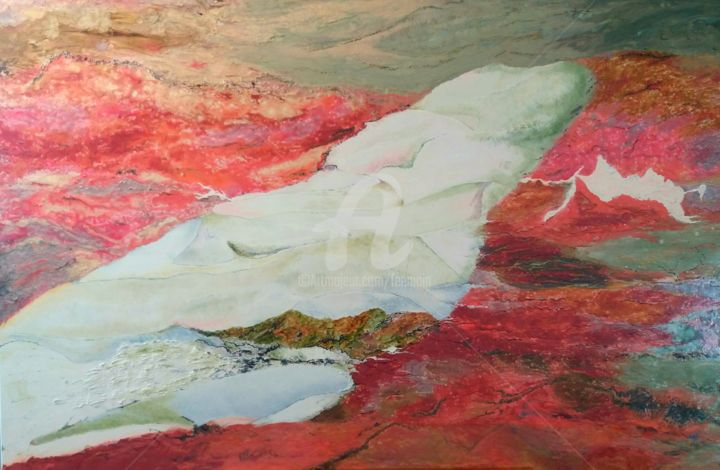 la lave et le glacier - Painting,  80x120 cm ©2017 by catherine bosser -                                                            Environmental Art, Glass, Mountainscape, montagne, volcan, glacier