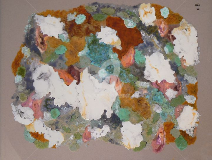 Lichens - Painting,  15.8x19.7 in, ©2014 by Catherine Bosser -                                                                                                                                                                                                                                                                          Abstract, abstract-570, Glass, Nature, tableau nature
