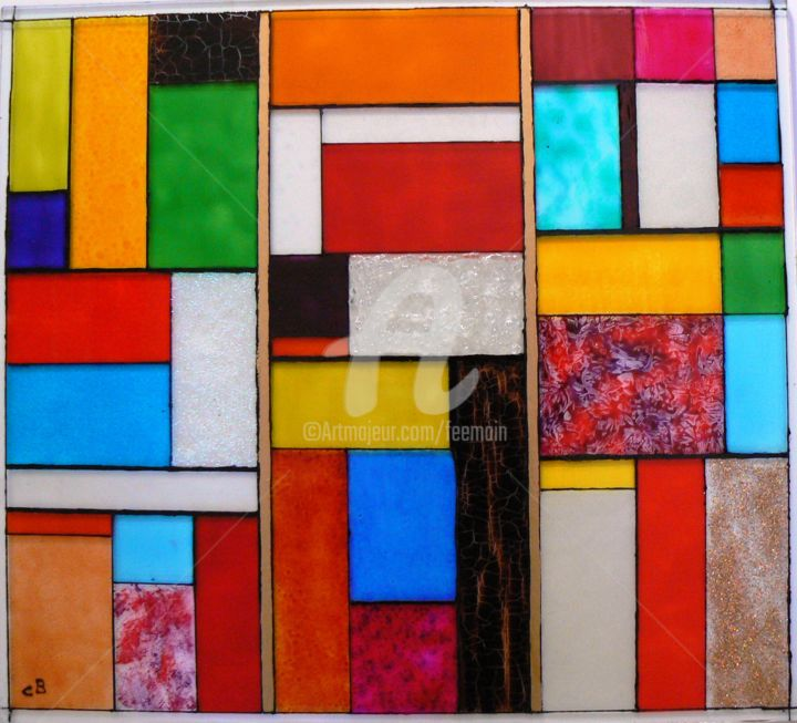 Arlequin - Painting,  15.8x15.8 in, ©2014 by Catherine Bosser -                                                                                                                                                                                                          Glass, Geometric, tableau, verre