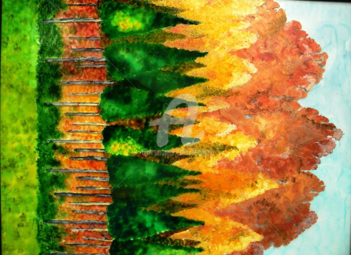 Automne.jpg - Painting,  50x40 cm ©2015 by catherine bosser -                                                        Contemporary painting, Glass, Nature