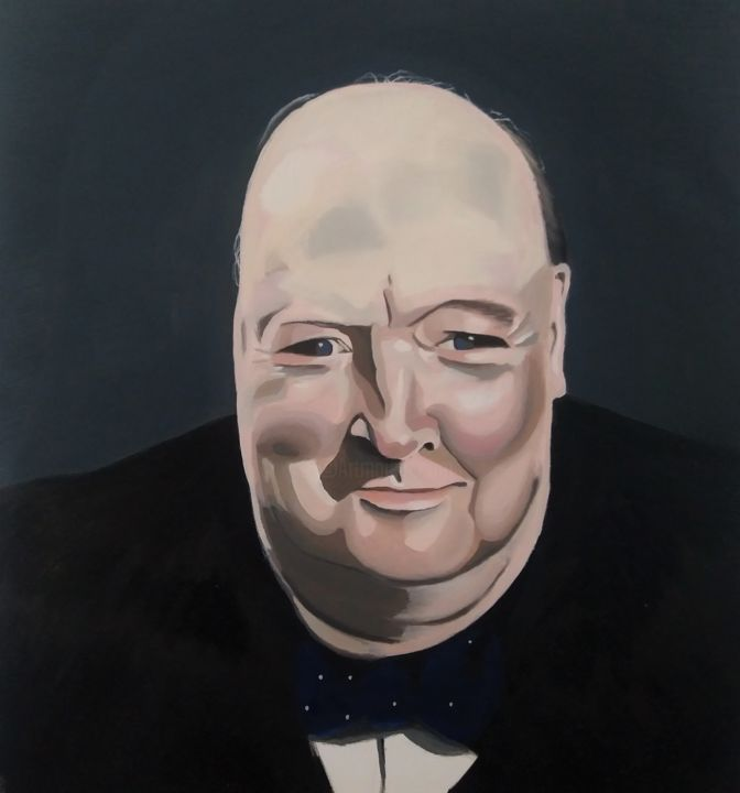"""Painting titled """"Retrato Churchill"""" by Felipe Santiago, Original Art, Oil Mounted on Other rigid panel"""