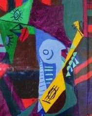 """Painting titled """"WOMAN WITH GUITAR"""" by Felix Borin, Original Art,"""