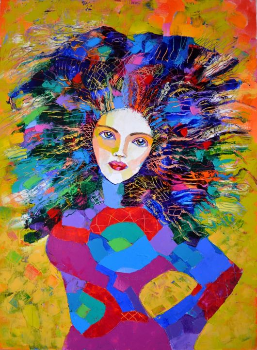 """Painting titled """"Muse"""" by Vyara&Art, Original Art, Oil Mounted on Stretcher frame"""