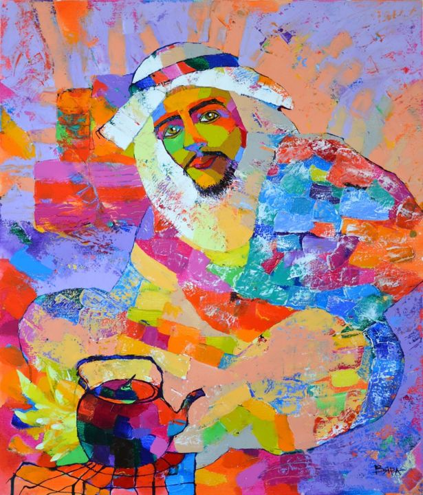 """Painting titled """"Bedouin"""" by Vyara&Art, Original Art, Oil Mounted on Stretcher frame"""