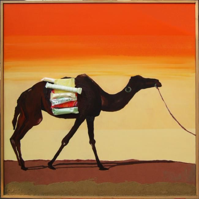 Camel Tampax - Painting,  31.5x31.5 in, ©2008 by Ferdy Poloni -