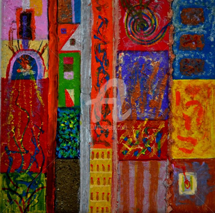 """Painting titled """"""""O Outro Lado do So…"""" by Fernando Rosa, Original Art, Acrylic Mounted on Other rigid panel"""