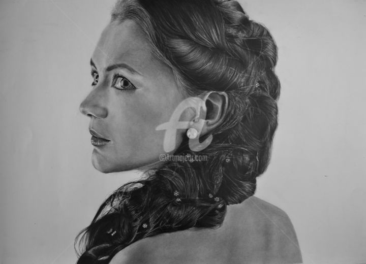 One look is worth a thousand - Drawing,  16.5x23.2x0.4 in, ©2018 by Fernando Bueno -                                                                                                                                                                                                                                                                                                                                                                                                                                                                                                                                                                                                                                                                                                                                                                                                                                                                                                                                                                                                                                                                                                                                                                                                                                                                              Conceptual Art, conceptual-art-579, Love / Romance, Angels, Performing Arts, Cinema, Body, art, realism, hyperrealism, photo, drawings, pencil, love, inlove, pics, russian, brazil, model, top model, photorealism, paper, рисунок, creative, mastepiece, eye, artwork