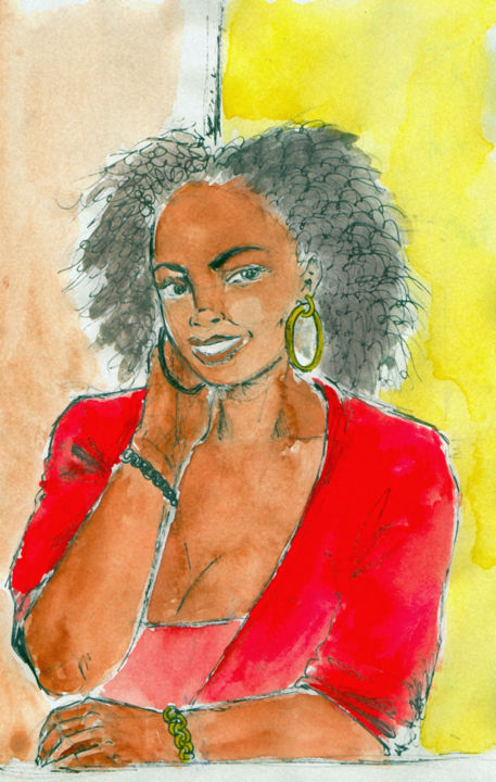 Cara paola - Drawing,  11.7x8.3 in, ©2015 by Fidel Durana -                                                                                                                                                                                                                          Illustration, illustration-600, Portraits, portrait