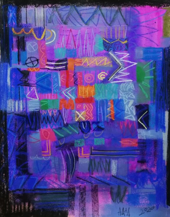 """Drawing titled """"Rules"""" by Adad, Original Art, Pastel"""