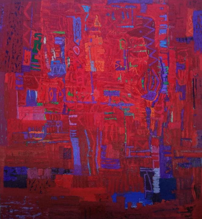 """Painting titled """",, two robots and a…"""" by Adad, Original Art, Oil"""