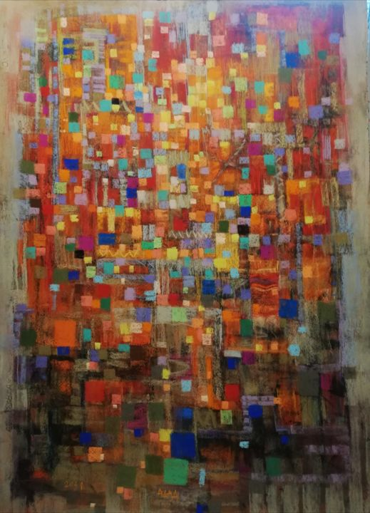"""Drawing titled """"Four cubes"""" by Adad, Original Art, Pastel"""