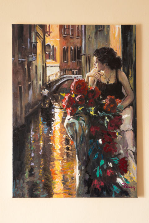 """Painting titled """"Lady Of Venice - Oi…"""" by Filip Petrovic, Original Art, Oil Mounted on Stretcher frame"""