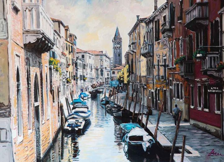 """Painting titled """"Venice canal, oil p…"""" by Filip Petrovic, Original Art, Oil"""