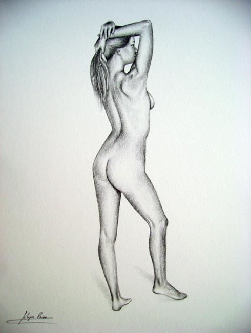 Posing - Drawing,  12.6x9.5 in, ©2007 by Filipe Paiva -