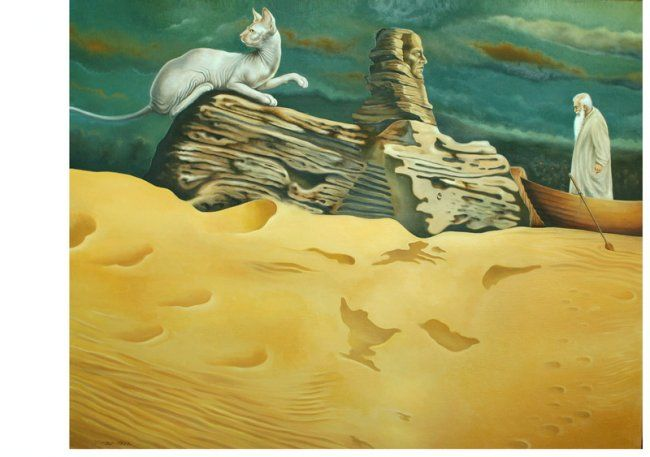 """Painting titled """"Sphinx and Kharon"""" by Igor Lysenko, Original Art, Oil"""