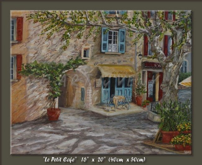 """Painting titled """"Le Petit Cafe"""" by Veny, Original Art, Oil"""