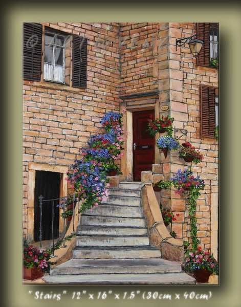 """Painting titled """"Stairs Torgny Citys…"""" by Veny, Original Art, Oil"""