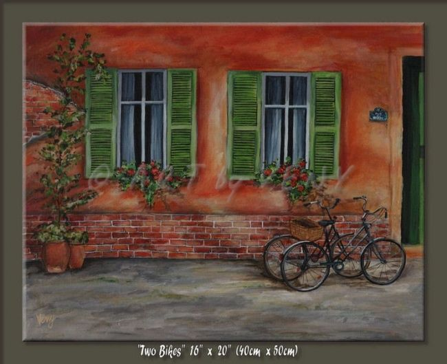 """Painting titled """"Two Bikes"""" by Veny, Original Art, Oil"""