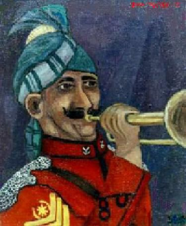 """Painting titled """"Army Trumpeter"""" by Peter Abbott, Original Art,"""