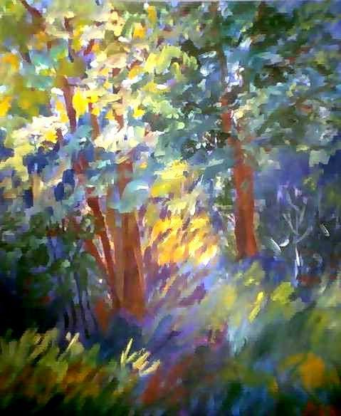 """Painting titled """"Sunny Forest"""" by Peter Abbott, Original Art,"""
