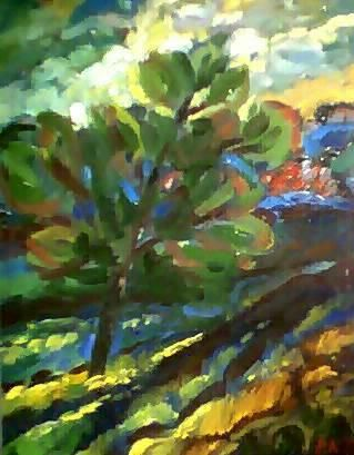 """Painting titled """"Lonely Tree"""" by Peter Abbott, Original Art,"""