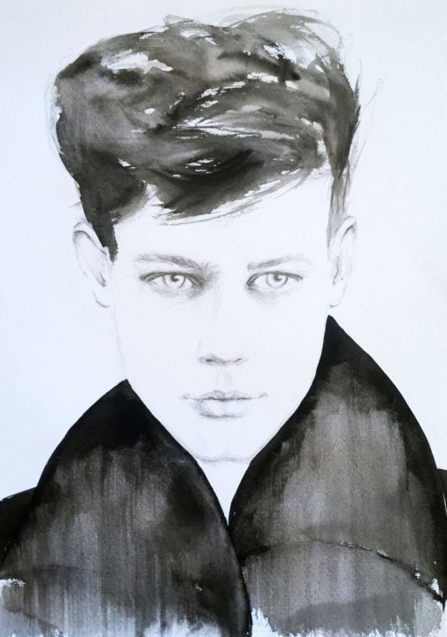 """Drawing titled """"Asher"""" by Fiona Maclean, Original Art, Watercolor"""
