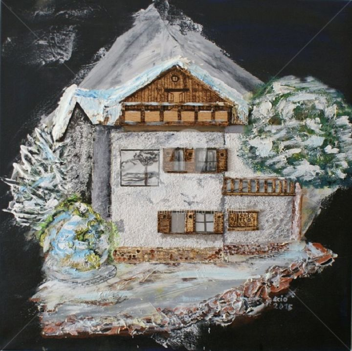 Casa di Montagna100.jpg - Painting,  39.4x39.4 in, ©2015 by Fiore -                                                                                                                                                                                                                          Symbolism, symbolism-1020, Home, casa di montagna
