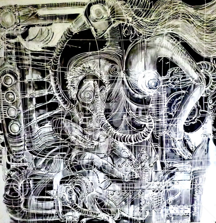 The Verge of Collapse - Painting,  78.7x3.9x78.7 in, ©2014 by Fitrajaya Nusananta -                                                              People
