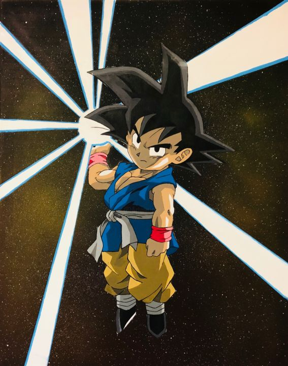 Son Goku Gt Acrylics 60x50 Painting By Artistic Amsterdam